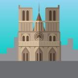 Notre Dame de Paris Cathedral, France vector illustration. Royalty Free Stock Photo
