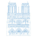 Notre Dame de Paris Cathedral, France.Vector isolated illustration of Notre Dame Stock Photo