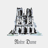 Notre Dame de Paris Cathedral, France. Watercolor hand drawing. Royalty Free Stock Image