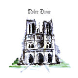 Notre Dame de Paris Cathedral, France. Watercolor hand drawing. Stock Photos