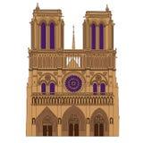 Notre Dame de Paris Cathedral illustration. Notre Dame de Paris Cathedral, France. Vector isolated illustration Stock Photography