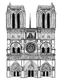 Notre Dame de Paris Cathedral. Isolerad loppetikett Royaltyfri Foto