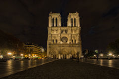 Notre Dame de Paris Cathedral. Landscape front view of the Cathedral Notre Dame Paris at night newly renovated Royalty Free Stock Photography