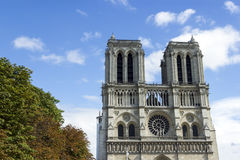 Notre Dame de Paris cathedral at late summer. Notre Dame de Paris Franse cathedral at late summer Stock Photography