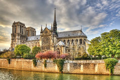 Notre Dame de Paris Cathedral. Notre Dame Cathedral in Paris located on the Ile de la Cite is one of the most famous Gothic Cathedral in the world Royalty Free Stock Photo