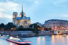 Notre Dame de Paris cathedral at night Stock Photos