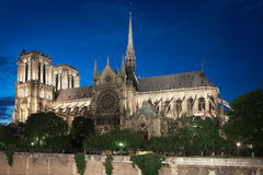 Notre Dame de Paris cathedral at night, side view Royalty Free Stock Image