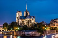 Notre Dame de Paris cathedral-night view Stock Photos