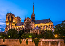 Notre Dame de Paris cathedral-night view Stock Image