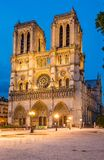 Notre Dame de Paris cathedral-night view Royalty Free Stock Photo