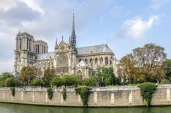 Notre Dame de Paris Cathedral. On the banks of the Seine river, France Royalty Free Stock Photos