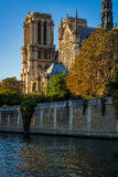 Notre Dame de Paris Cathedral och Seine River på solnedgången Royaltyfri Fotografi