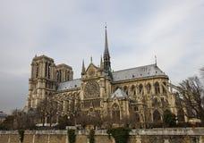 Notre Dame de Paris (circa 1345). Notre Dame de Paris (Cathedral of Our Lady of Paris, circa 1345). World Heritage site of UNESCO. View from Montebello quay Stock Photos