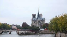 Notre Dame de Paris cathedral in Paris stock video footage