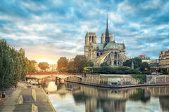 Notre Dame de Paris cathedral reflecting in river Royalty Free Stock Photo