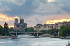 Notre Dame de Paris Cathedral by the river Royalty Free Stock Image