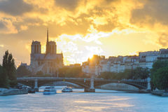 Notre Dame de Paris Cathedral by the river Stock Image
