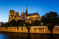 Notre Dame de Paris Cathedral and Seine River in the Evening Stock Photo