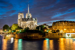 Notre Dame de Paris Cathedral and Seine River in the Evening, Pa Royalty Free Stock Image