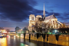 Notre Dame de Paris Cathedral and Seine River in the Evening, Pa Stock Image