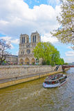 Notre Dame de Paris Cathedral and Seine River in France Royalty Free Stock Photo