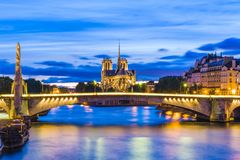 Notre Dame de Paris Cathedral and Seine River. A medieval Catholic cathedral on the Île de la Cité in the fourth arrondissement of Paris, France Royalty Free Stock Image