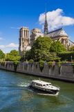 Notre Dame de Paris cathedral and the Seine River in Summer. Paris, France Stock Photography