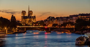 Notre Dame de Paris Cathedral and the Seine River at sunset and twilight. Paris, France stock video