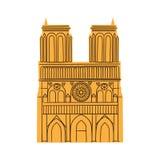 Notre Dame de Paris Cathedral som isoleras på vit vektor illustrationer