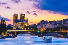 Notre Dame de Paris Cathedral y río Sena fotografía de archivo libre de regalías