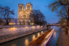 Notre Dame de Paris and Christmas Illumination in Evening, France Royalty Free Stock Photo