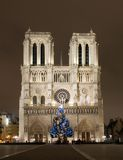 Notre Dame de Paris before Cristmas Stock Images