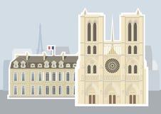 Notre-Dame de Paris de Cathédrale, palácio de Ãlysée ilustração do vetor