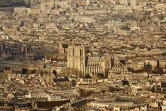 Notre Dame de Paris, de la torre de Montparnasse Imagen de archivo
