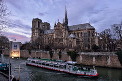 Notre Dame de Paris at dusk Royalty Free Stock Photos
