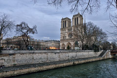 Notre Dame de Paris at dusk Royalty Free Stock Photo