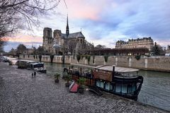 Notre Dame de Paris at dusk Stock Image