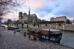 Notre Dame de Paris at dusk Stock Image