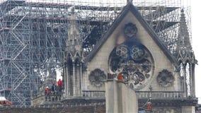 Notre Dame De Paris efter branden arkivfilmer