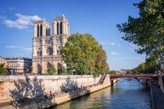 Notre Dame de Paris en de rivierzegen, Parijs stock foto's