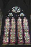 Notre-Dame de Paris espectacular de Windows en mayo de 2014 fotografía de archivo