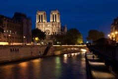 Notre Dame de Paris in the Evening Stock Images