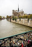 Notre Dame de Paris, fechamentos do amor Imagem de Stock Royalty Free