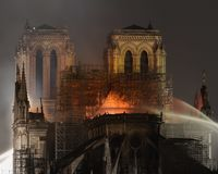 Notre dame de paris fire April 2019. Paris france. fire in the notre dame cathedral. firefighters trying to save the building royalty free stock photography