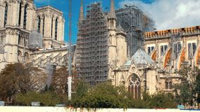 Notre Dame de Paris after fire. Reinforcement work in progress after the fire, to prevent. The Cathedral to collapse in. Paris stock video