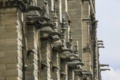 Notre Dame de Paris, França, close-up em gárgulas fotografia de stock