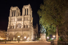 Notre Dame de Paris in France by night Stock Photo