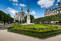 Notre Dame de Paris Garden on Cite Island, Paris Royalty Free Stock Images