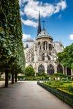 Notre Dame de Paris Garden on Cite Island, Paris Royalty Free Stock Images