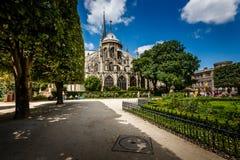 Notre Dame de Paris Garden on Cite Island, Paris Stock Image